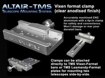 Altair TMS - Vixen Synta Dovetail Clamp Clear Silver