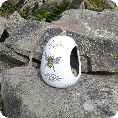 Ceramic Bird Feeder - Busy Bee Two Tone White and Grey