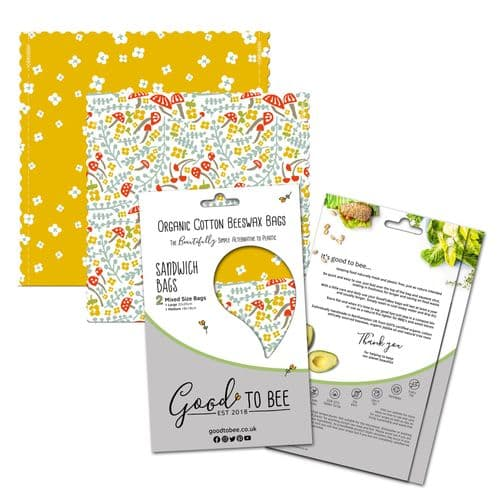 GoodToBee Beeswax Wraps - Sandwich Bags - Folkland