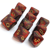 Scarlet & Gold Scarab D10 Ten Sided Dice Set