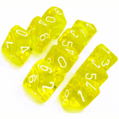 Yellow & White Translucent D10 Ten Sided Dice Set