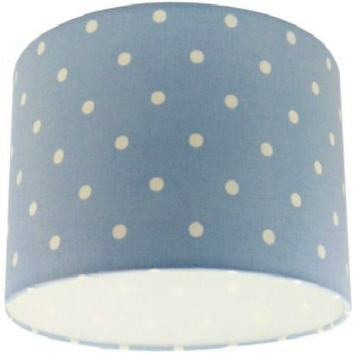 Blue Spotty Polka Dot Drum Lampshade
