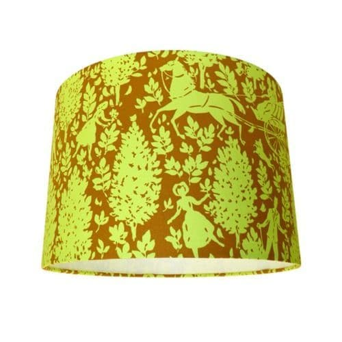 Cameo Folley Butterscotch Mustard Yellow & Brown Drum Lampshade