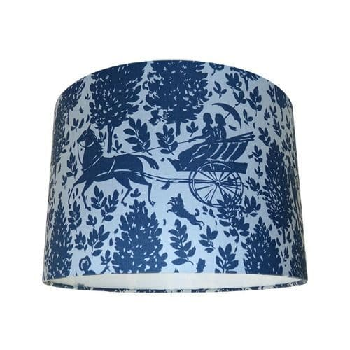 Cameo Folley Zinc Navy Blue & Grey Drum Lampshade
