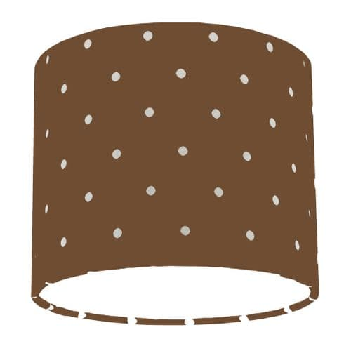 Chocolate Spotty Polka Dot Drum Lamp Shade