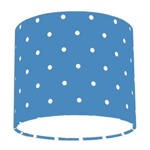 Denim Blue Spotty Polka Dot Drum Lamp Shade