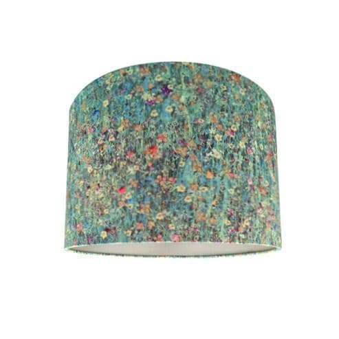 Drum Lamp Shade Made With Liberty Floral Mawston Meadow Dew Fabric with Champagne Lining  25cm