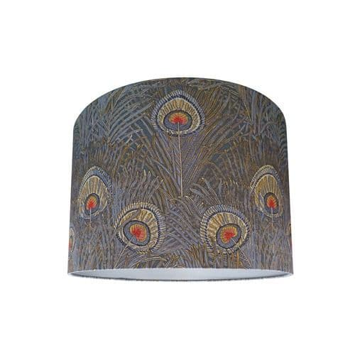 Drum Lamp Shade Made with Liberty Hera Slate Blue Peacock Feather Fabric with Silver Lining