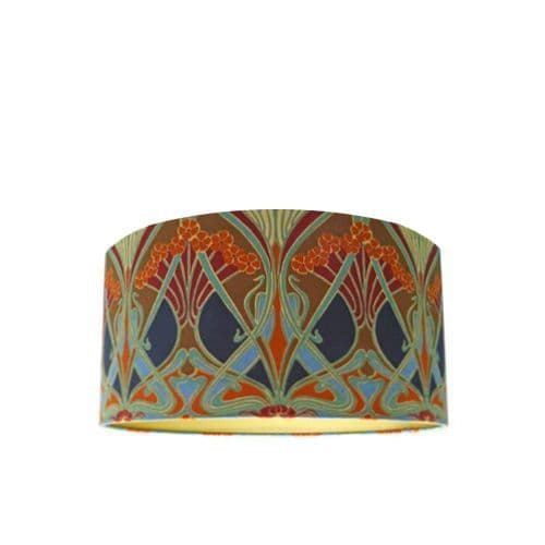 Drum Lamp Shade Made with Liberty Ianthe Flower Original Fabric with Gold Lining