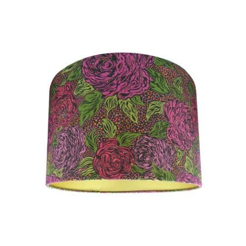 Drum Lamp Shade Made with Liberty Kate Ada Mosaic Garnet Floral Fabric with Gold Lining