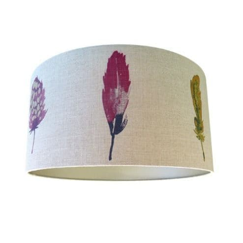 Harlequin Limosa Loganberry Raspberry Olive Feather Fabric Drum Lampshade with Champagne Lining