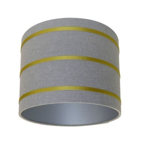 Harlequin Lois Graphite Charteuse Fabric Drum Lampshade with Silver lining