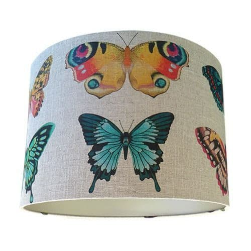 Harlequin Papilio Flamingo Papaya Loganberry Butterfly Fabric Drum Lampshade with Champagne Lining