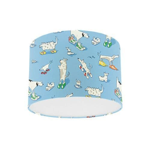 Little Sanderson Abracazoo Dogs In Clogs Blue Fabric Drum Ceiling Pendant Light Shade