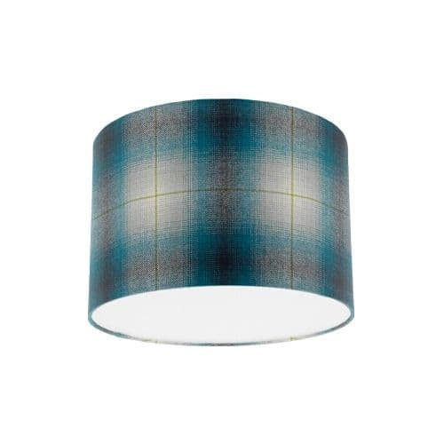 Osborne and Little Corniche Fitzgerald Peacock Blue Tartan Fabric Drum Lampshade