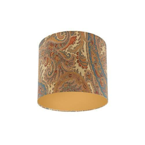 Osborne and Little Pasha Patara Cream / Sand / Light Petrol / Sage Drum Lamp Shade with Gold Lining