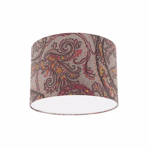 Osborne and Little Pasha Patara Taupe / Cranberry / Cacao Drum Lamp Shade