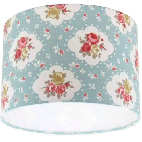 Rosetta Autumn Floral Duck Egg Drum Lampshade