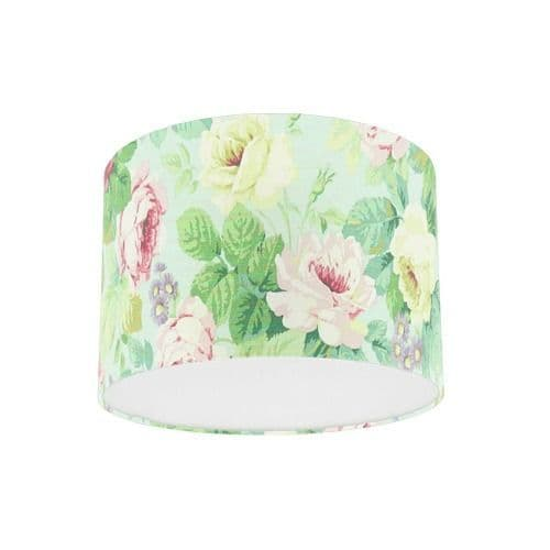 Sanderson Chelsea Duck Egg / Rose Fabric Drum Lampshade