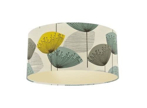 Sanderson Dandelion Clocks Chaffinch Fabric Drum Lamp Shade with Champagne Lining