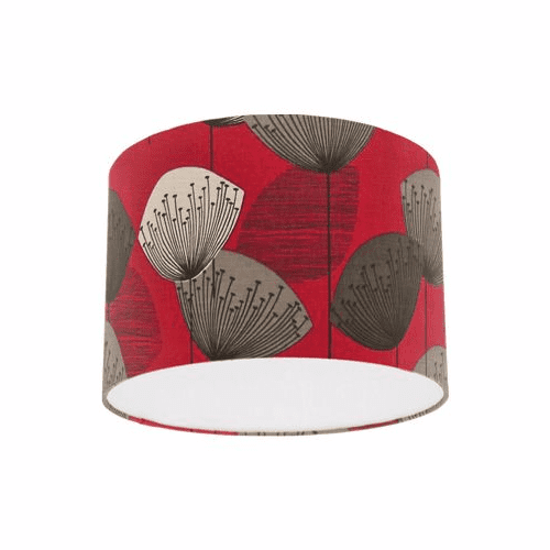 Sanderson Dandelion Clocks Red Fabric Drum Lampshade