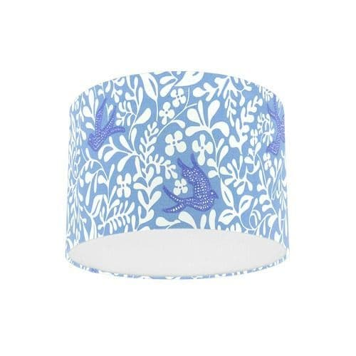 Sanderson Papavera Larksong Marine / Indigo Embroidered Fabric Drum Lampshade