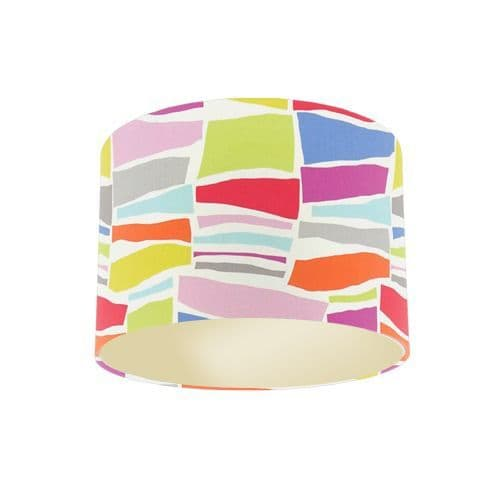 Sanderson Papavera Milla Brights / Multi Fabric Drum Lamp Shade with Champagne Lining