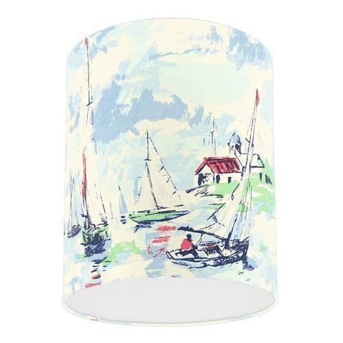Sanderson Sail Away Sky Blue Nautical Boat Fabric Drum Lampshade
