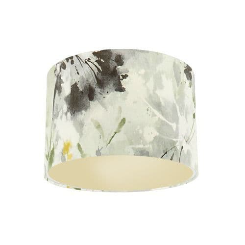 Sanderson Simi Grey Pearl Fabric Drum Lamp Shade with Champagne Lining