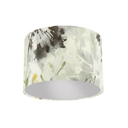 Sanderson Simi Grey Pearl Fabric Drum Lamp Shade with Silver Lining