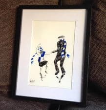 Bristol Rovers 'Father and Daughter' - original artwork in 14'' x 11''frame