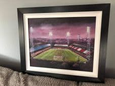 Griffin Park, Brentford 1970's memories  FRAMED oil painting - on canvas board 20'' x 16''