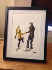 Hull City 'My First Match' contemporary art-original artwork painted in acrylic in 14'' x 11'' frame