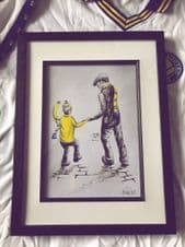 Leeds United  'My First Match' - original artwork painted in acrylic in 14'' x 11''frame