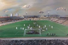The Den,  Millwall v Tottenham Hotspur FA Cup 3rd Round 1967 canvas print sized 20'' x 30''