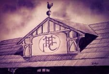 White Hart Lane Old Main Stand Gable in graphite box canvas sized 20'' x 30''