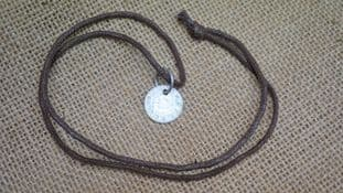 anglo saxon pewter coin of canute necklace with faux leather thonging