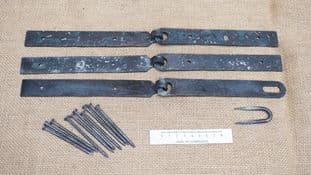 """pre drilled roman to medieval 175mm 7"""" hinges hasp and staple with nails and options"""
