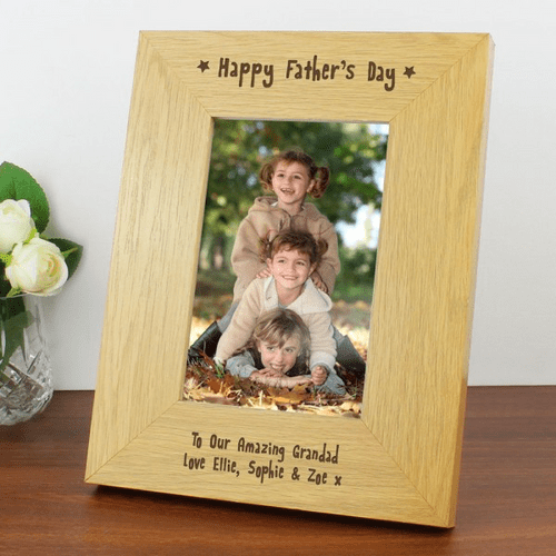 Personalised 6x4 Happy Fathers Day Wooden Photo Frame
