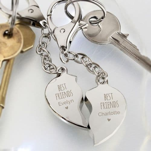 Personalised Best Friends Two Hearts Keyring
