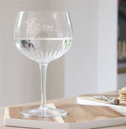 Personalised Birth Flower Crystal Cut Gin Glass