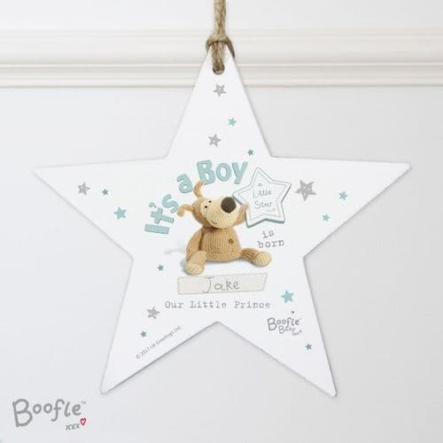 Personalised Boofle Its a Boy Wooden Star Decoration