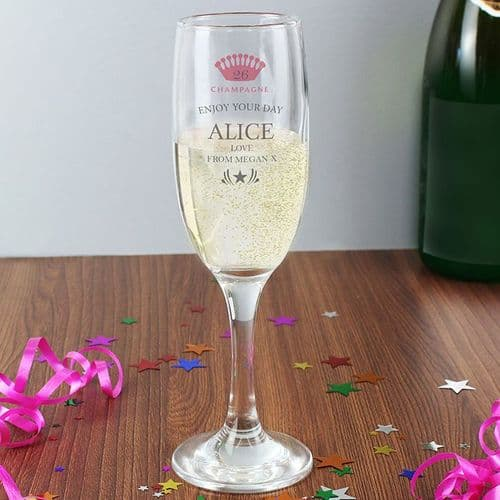 Personalised Champagne Crown Glass Flute