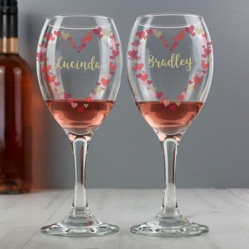 Personalised Confetti Hearts Wedding Pair of Wine Glasses