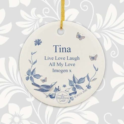 Personalised Country Diary Blue Blossom Round Ceramic Decoration