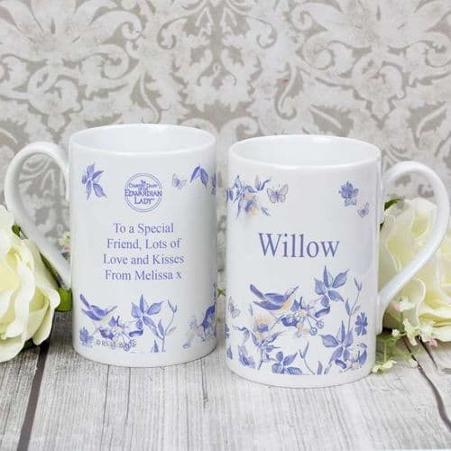 Personalised Country Diary Blue Blossom Windsor Mug