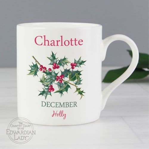 Personalised Country Diary 'December Flower Of The Month' Balmoral Mug