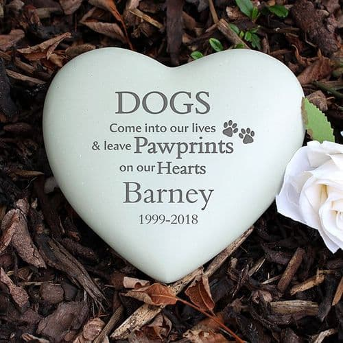Personalised Dog Paw Print Heart Memorial