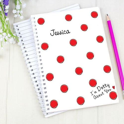 Personalised Dotty About You A5 Notebook