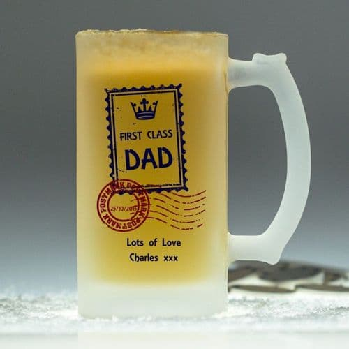 Personalised First Class Glass Tankard